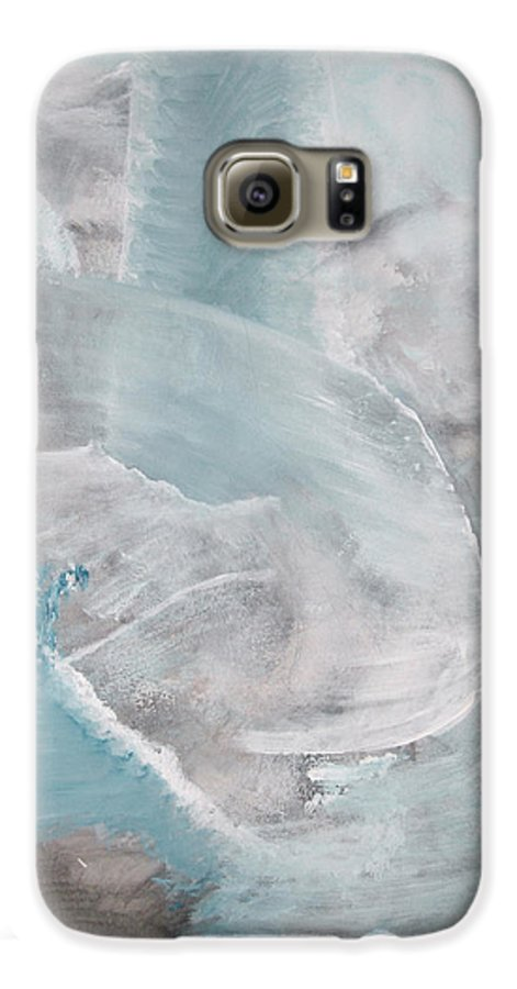 Abstract Acrylic Darkestartist Landscape Painting Waterfall Blue Water Galaxy S6 Case featuring the painting Private Waterfall by Darkest Artist