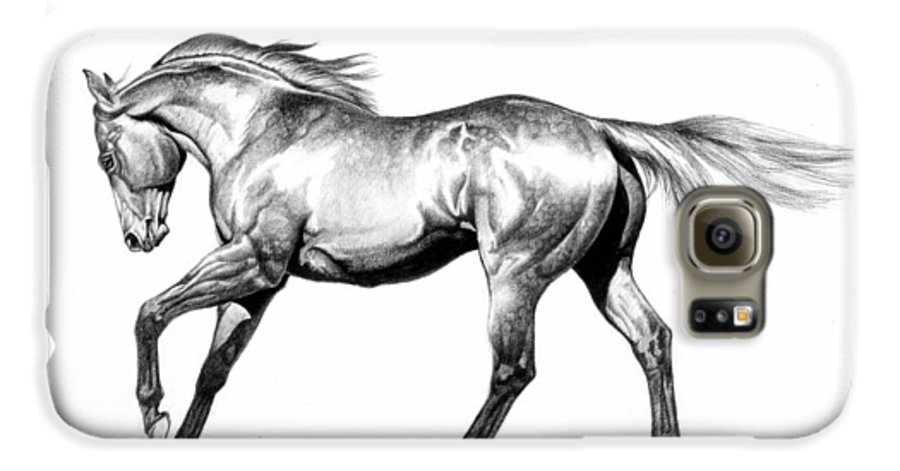 Thoroughbred Galaxy S6 Case featuring the drawing Proud by Howard Dubois