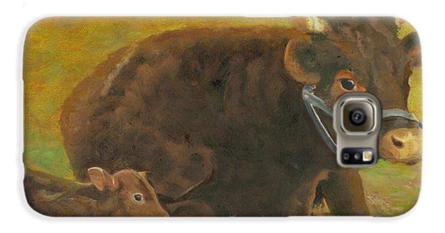 Cow Calf Bull Farmscene Galaxy S6 Case featuring the painting Proud Pappa by Paula Emery