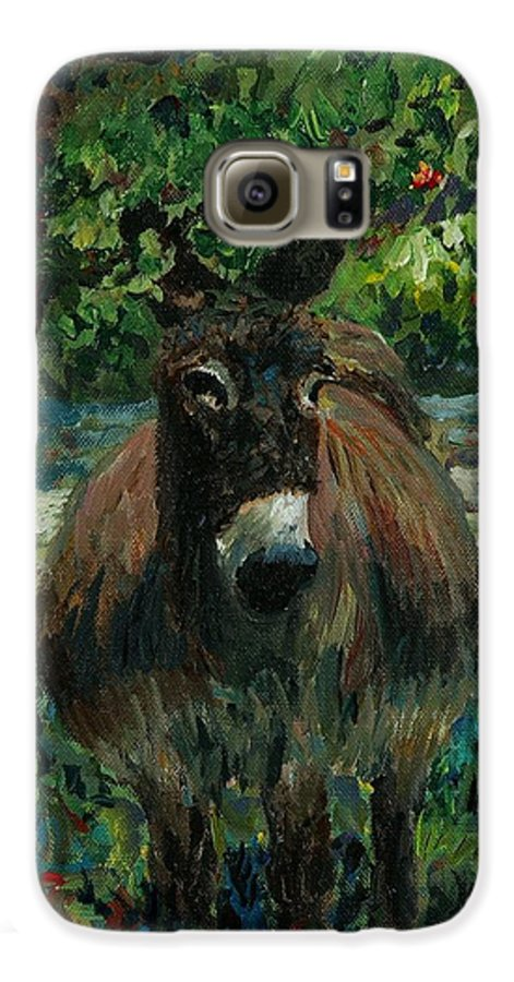 Donkey Galaxy S6 Case featuring the painting Provence Donkey by Nadine Rippelmeyer