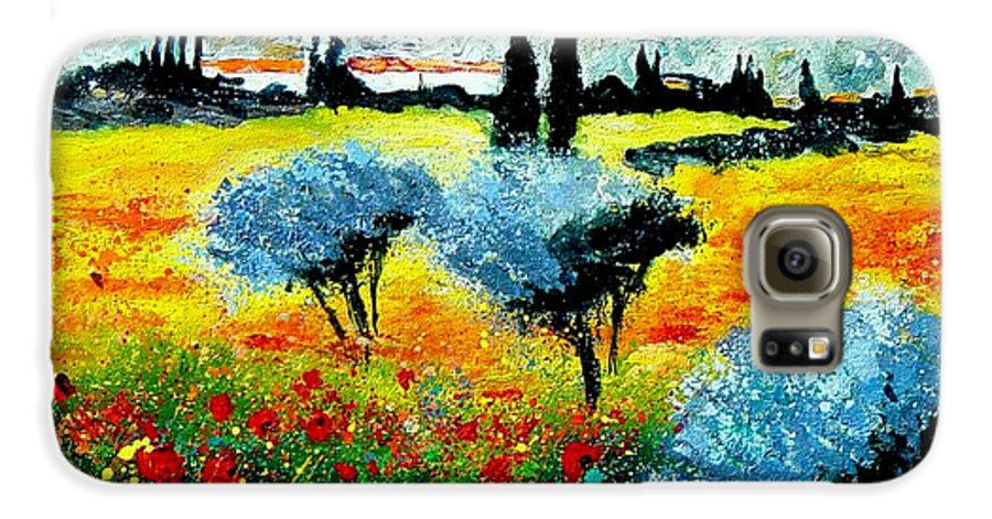 Poppies Galaxy S6 Case featuring the painting Provence by Pol Ledent