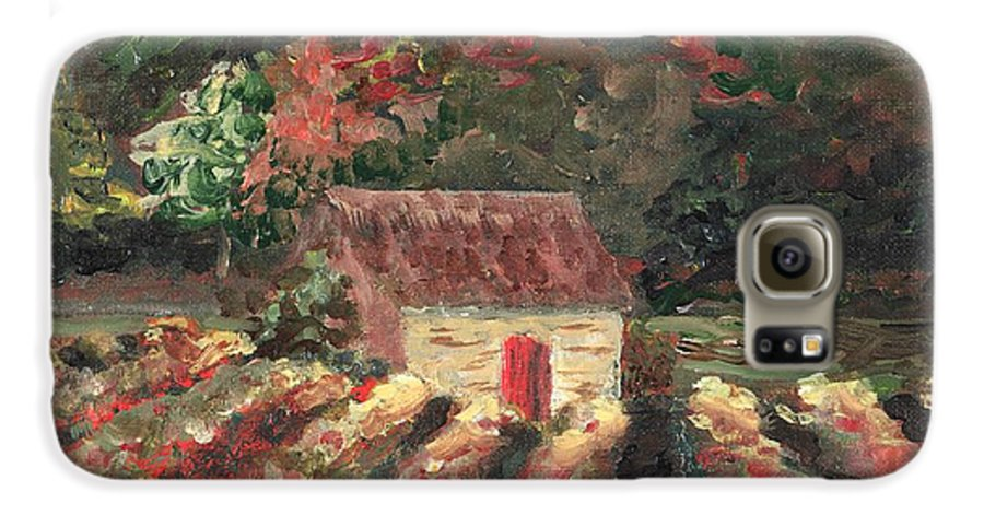 Landscape Galaxy S6 Case featuring the painting Provence Vineyard by Nadine Rippelmeyer