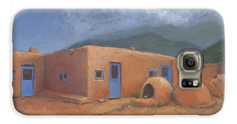 Taos Galaxy S6 Case featuring the painting Puertas Azul by Jerry McElroy