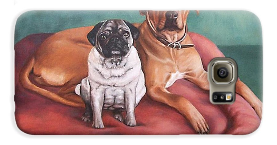 Dogs Galaxy S6 Case featuring the painting Pug And Rhodesian Ridgeback by Nicole Zeug