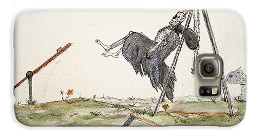 Darkestartist Death Humor Ink Playground Swing Watercolor Watercolour Darkest Artist Pump Harder Seesaw Galaxy S6 Case featuring the painting Pump Harder Youll Get There by Darkest Artist