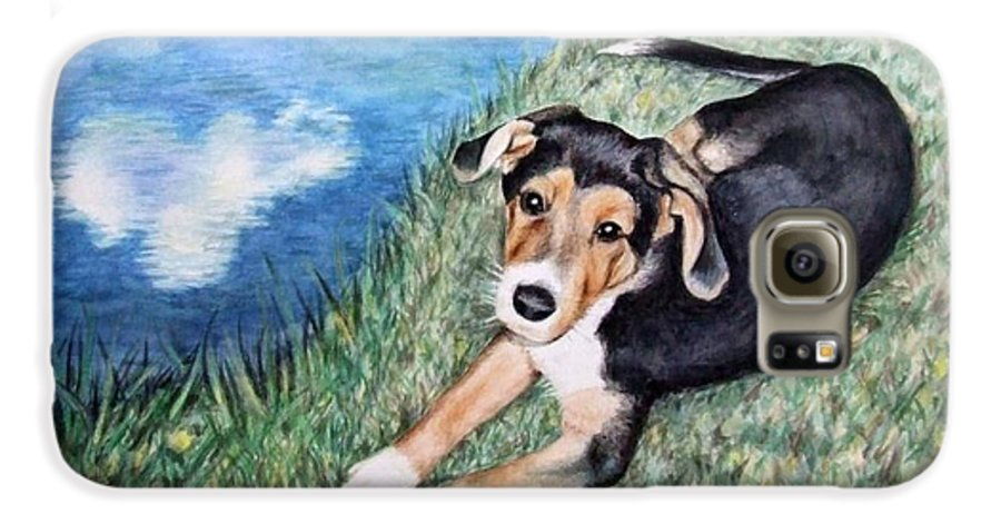 Dog Galaxy S6 Case featuring the painting Puppy Max by Nicole Zeug