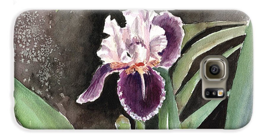 Flower Galaxy S6 Case featuring the painting Purple Iris by Arline Wagner