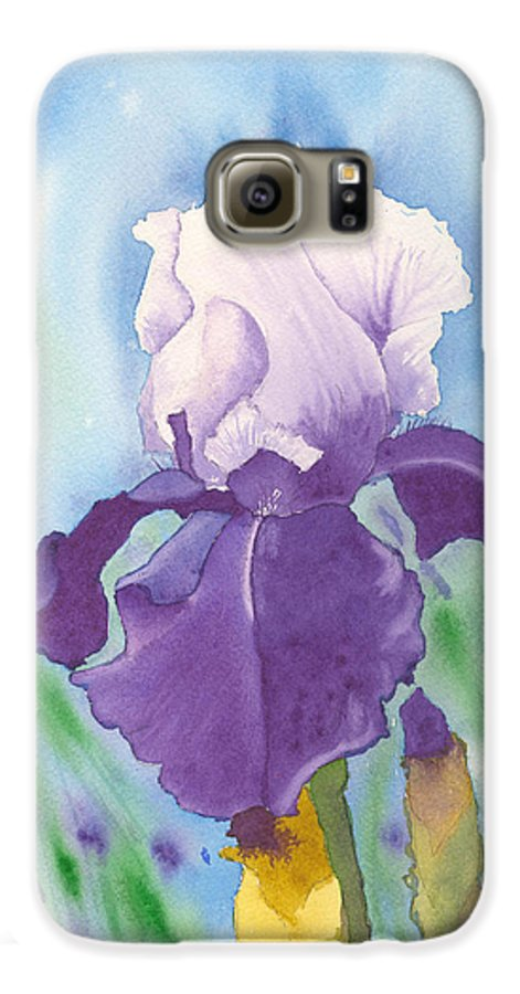 Iris Galaxy S6 Case featuring the painting Purple by Louise Magno
