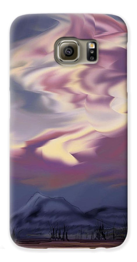 Clouds Galaxy S6 Case featuring the painting Purple Mountain Majesty by Anne Norskog