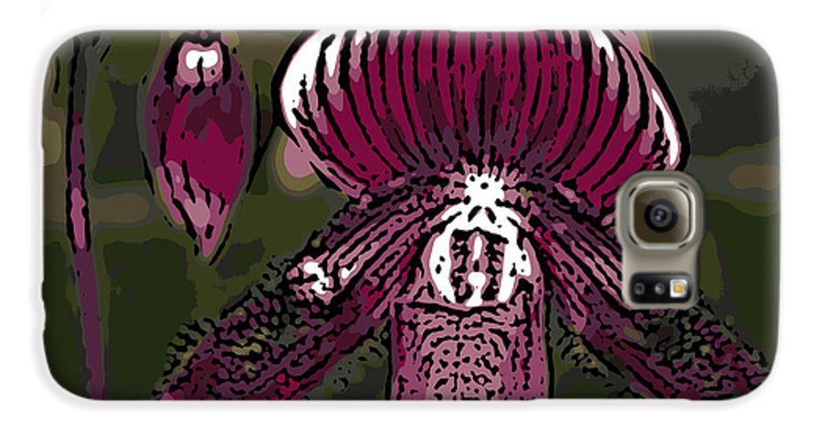 Orchid Galaxy S6 Case featuring the photograph Purple Orchid Woodcut by Ann Tracy