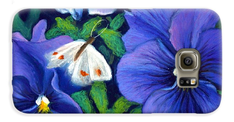 Pansy Galaxy S6 Case featuring the painting Purple Pansies And White Moth by Minaz Jantz