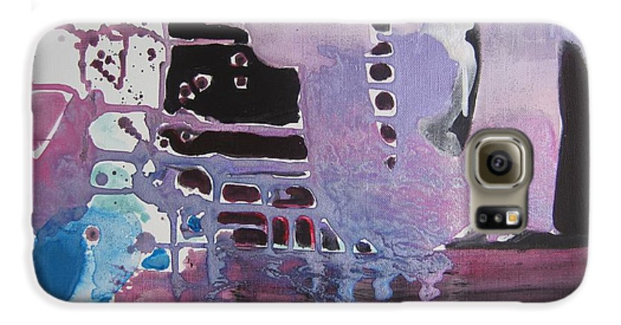 Abstract Paintings Galaxy S6 Case featuring the painting Purple Seascape by Seon-Jeong Kim