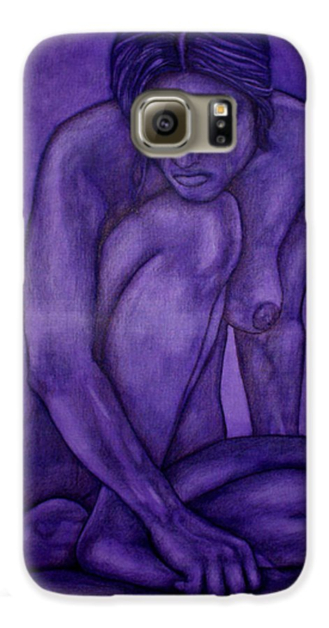 Nude Women Galaxy S6 Case featuring the painting Purple by Thomas Valentine