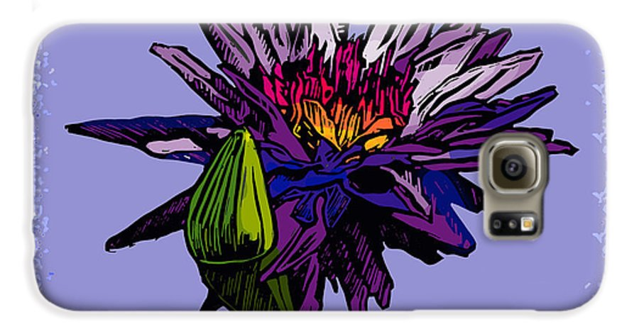 Water Lily Galaxy S6 Case featuring the drawing Purple Water Lily by John Lautermilch