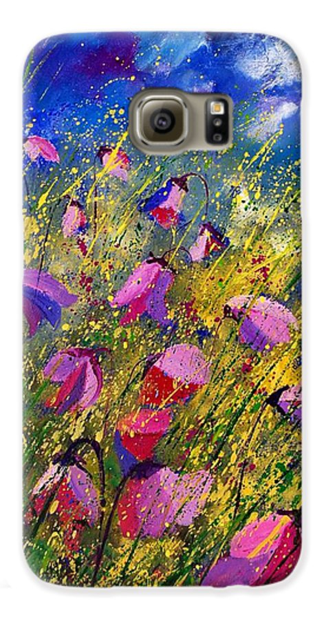 Poppies Galaxy S6 Case featuring the painting Purple Wild Flowers by Pol Ledent