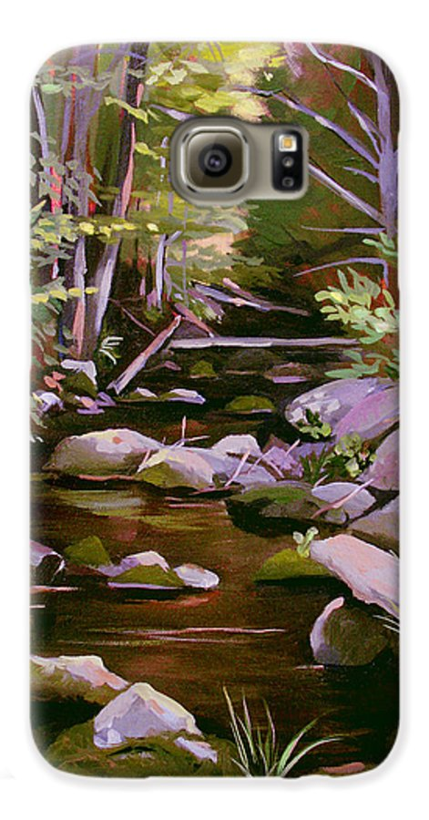 Peoples State Forest Galaxy S6 Case featuring the painting Quiet Brook by Nancy Griswold