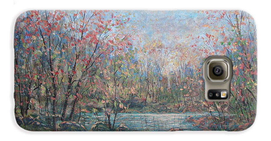 Landscape Galaxy S6 Case featuring the painting Quiet Evening. by Leonard Holland