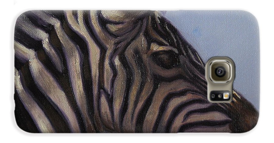 Zebra Galaxy S6 Case featuring the painting Quiet Profile by Greg Neal
