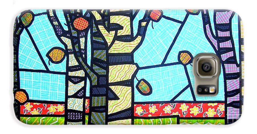 Birch Trees Galaxy S6 Case featuring the painting Quilted Birch Garden by Jim Harris