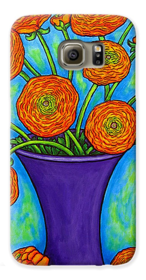 Green Galaxy S6 Case featuring the painting Radiant Ranunculus by Lisa Lorenz