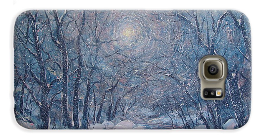 Snow Landscape Galaxy S6 Case featuring the painting Radiant Snow Scene by Leonard Holland