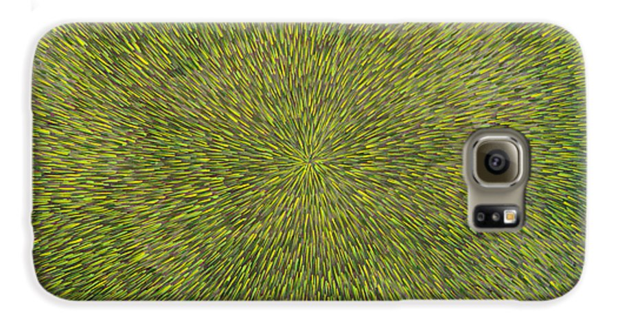 Abstract Galaxy S6 Case featuring the painting Radiation With Green With Yellow by Dean Triolo