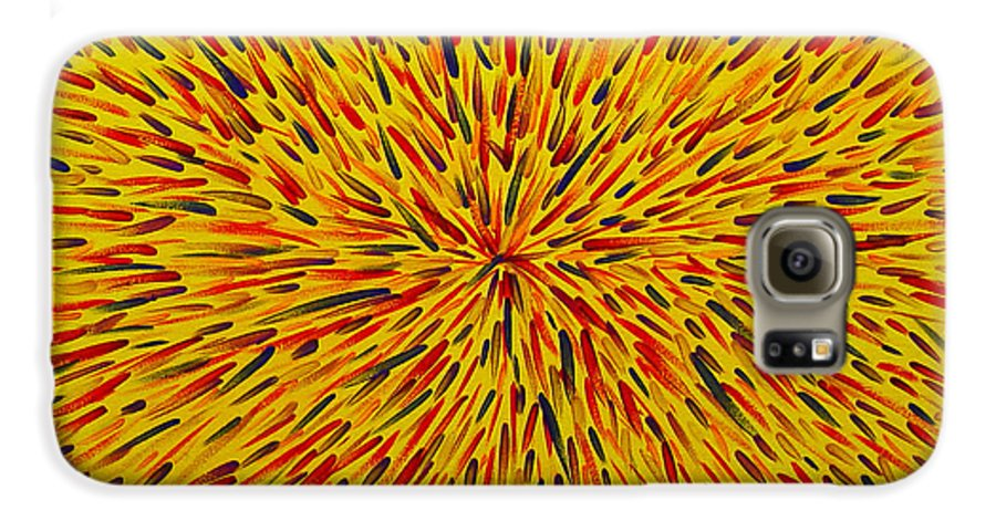 Abstract Galaxy S6 Case featuring the painting Radiation Yellow by Dean Triolo