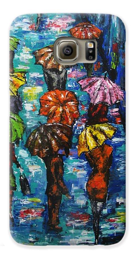 Rain Galaxy S6 Case featuring the painting Rain Fantasy Acrylic Painting by Natalja Picugina