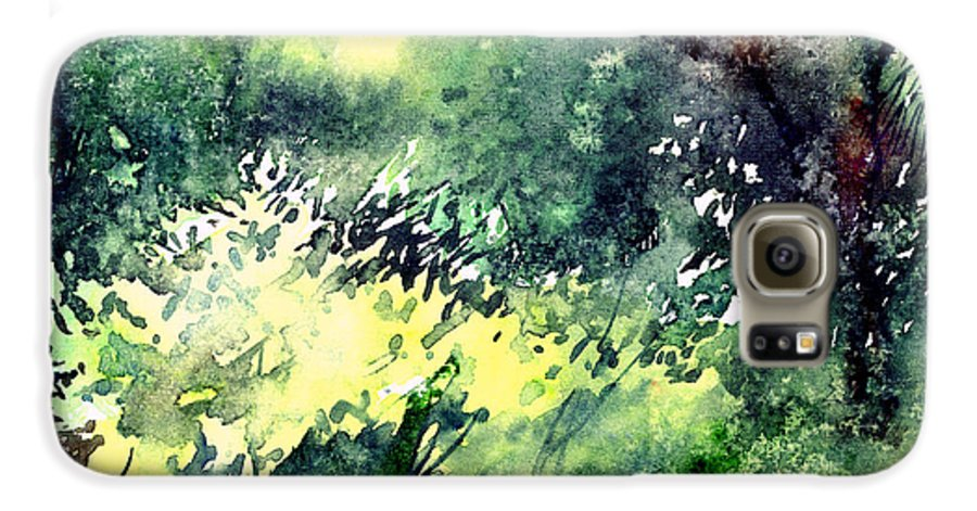 Landscape Watercolor Nature Greenery Rain Galaxy S6 Case featuring the painting Rain Gloss by Anil Nene