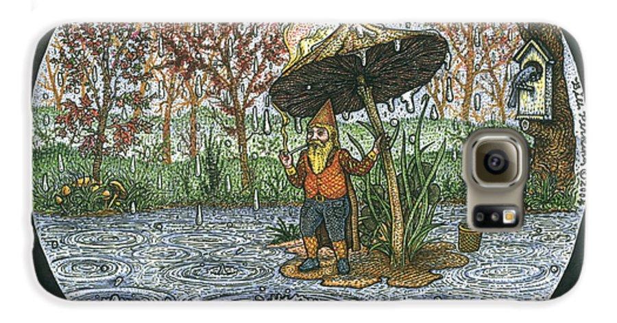 Rain Galaxy S6 Case featuring the drawing Rain Gnome Rain Circle by Bill Perkins