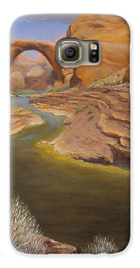 Rainbow Bridge Galaxy S6 Case featuring the painting Rainbow Bridge by Jerry McElroy