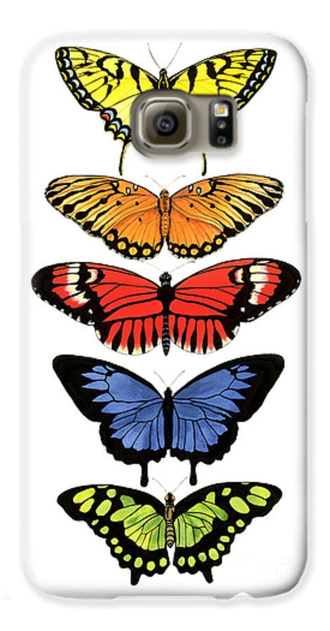 Butterflies Galaxy S6 Case featuring the painting Rainbow Butterflies by Lucy Arnold