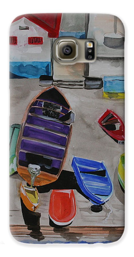 Boats Galaxy S6 Case featuring the painting Rainbow On The Dock by Jean Blackmer