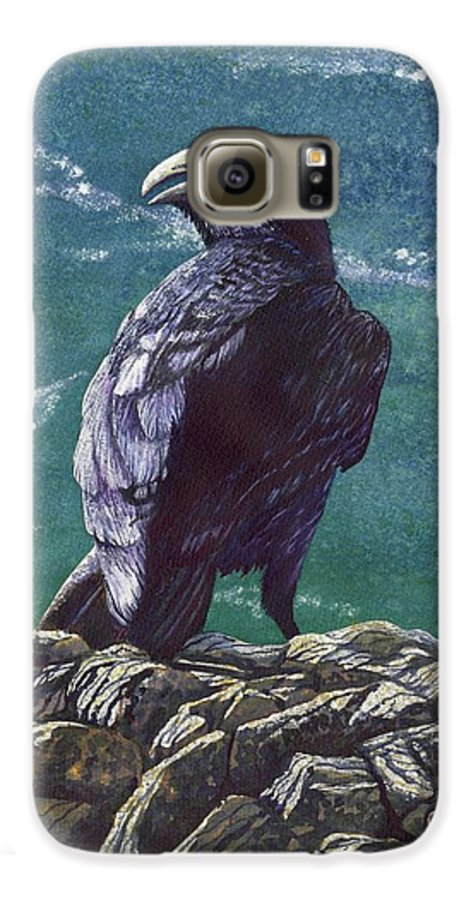 Bird Galaxy S6 Case featuring the painting Raven by Catherine G McElroy