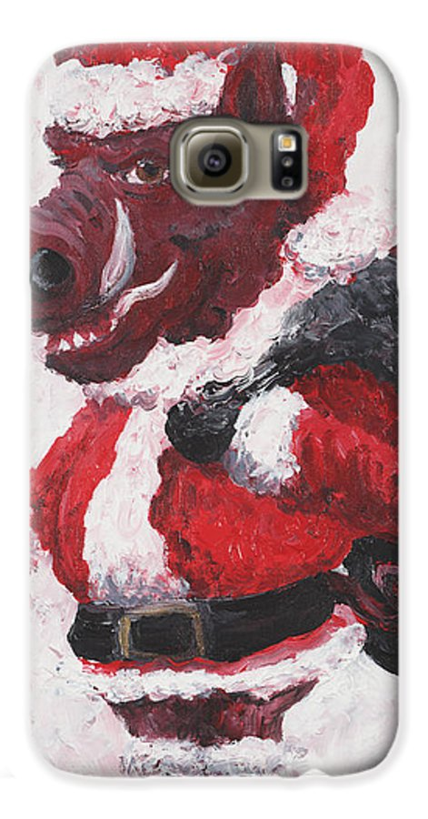 Santa Galaxy S6 Case featuring the painting Razorback Santa by Nadine Rippelmeyer