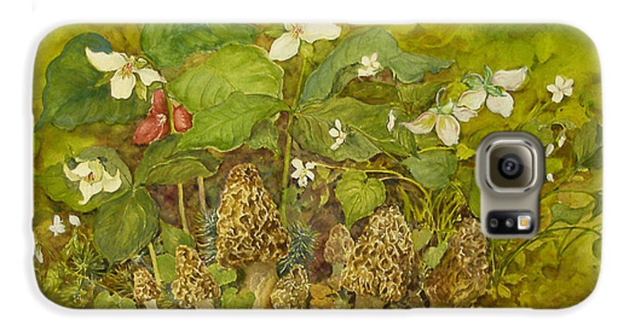 Mushrooms;trillium;spring;violets;woods;woodland;morels;watercolor Painting; Galaxy S6 Case featuring the painting Ready For Pickin' by Lois Mountz