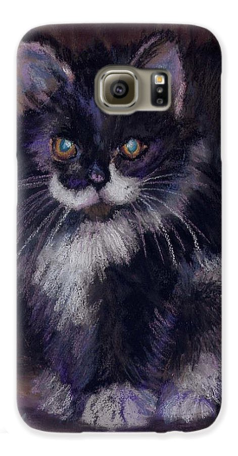Kitten Galaxy S6 Case featuring the painting Ready For Trouble by Sharon E Allen