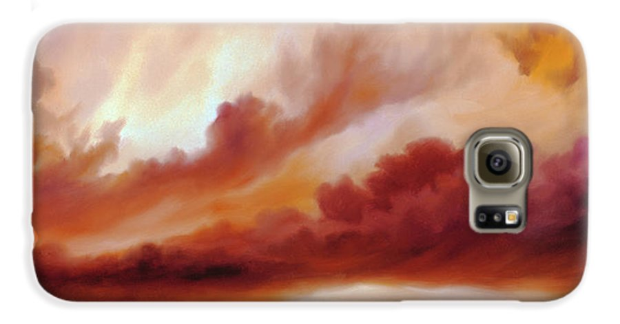Skyscape Galaxy S6 Case featuring the painting Receding Storm Sketch IIi by James Christopher Hill