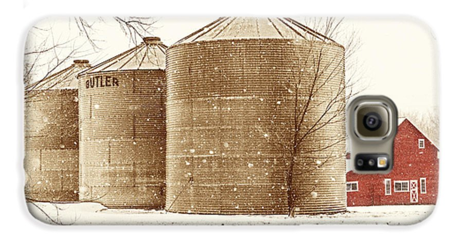 Americana Galaxy S6 Case featuring the photograph Red Barn In Snow by Marilyn Hunt
