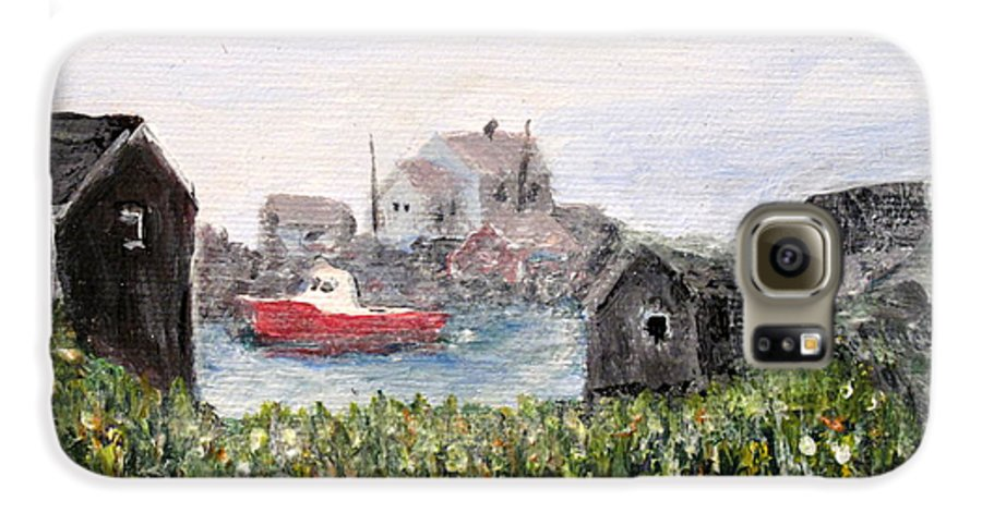 Red Boat Galaxy S6 Case featuring the painting Red Boat In Peggys Cove Nova Scotia by Ian MacDonald