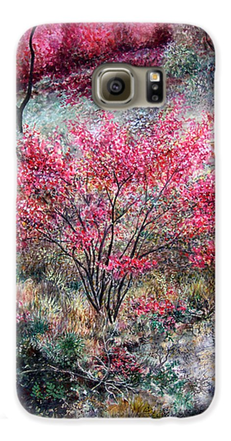Landscape Galaxy S6 Case featuring the painting Red Bush by Valerie Meotti