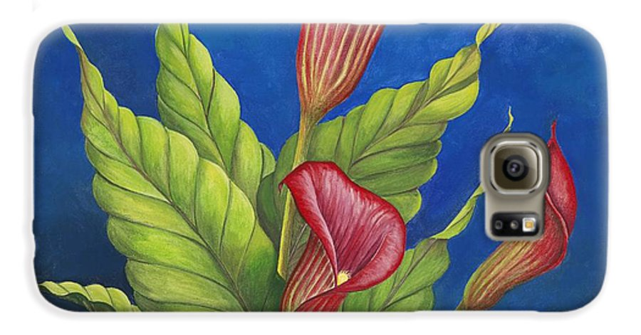 Red Calla Lillies On Blue Background Galaxy S6 Case featuring the painting Red Calla Lillies by Carol Sabo