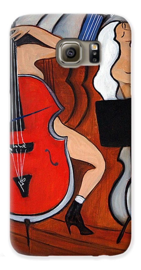 Cubic Abstract Galaxy S6 Case featuring the painting Red Cello 2 by Valerie Vescovi