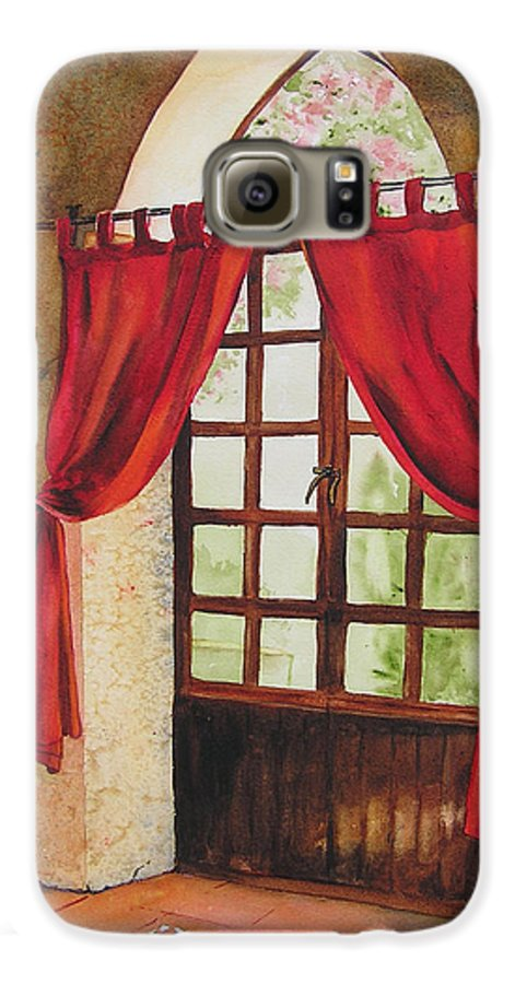 Curtain Galaxy S6 Case featuring the painting Red Curtain by Karen Stark