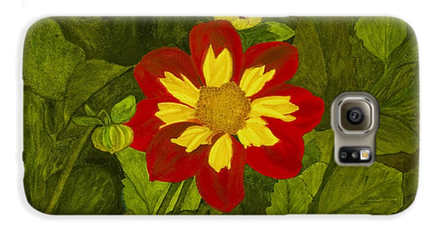 Red Galaxy S6 Case featuring the painting Red Dahlia by Louise Magno