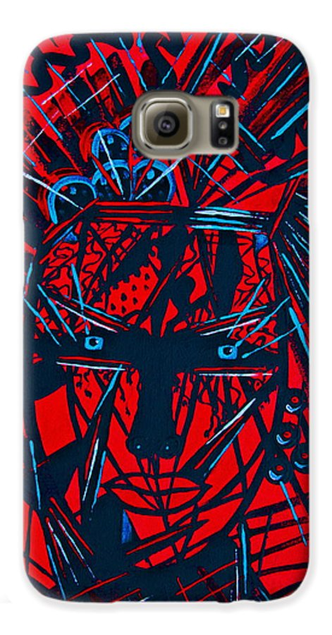 Abstract Galaxy S6 Case featuring the painting Red Exotica by Natalie Holland
