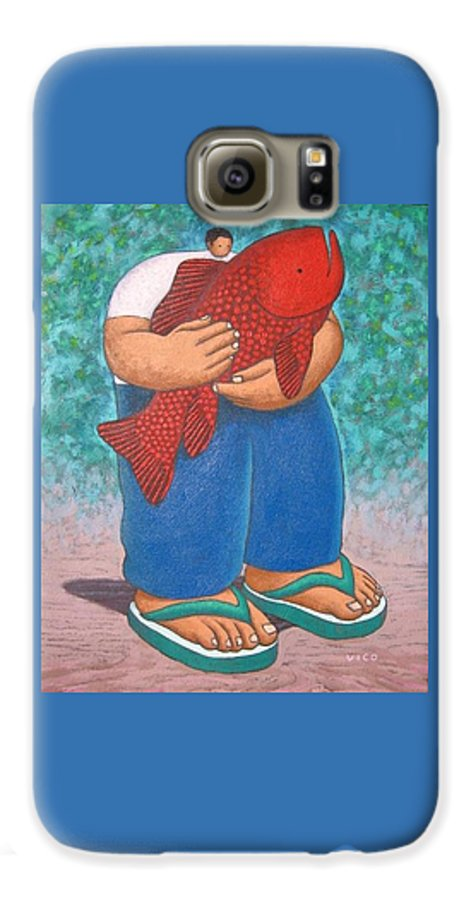 Acrylic Galaxy S6 Case featuring the painting Red Fish And Blue Trousers. by Vico Vico