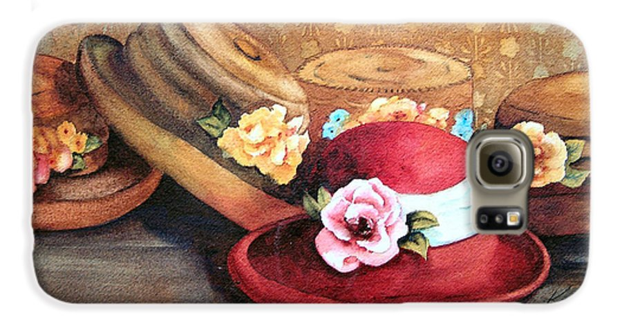 Hat Galaxy S6 Case featuring the painting Red Hat by Karen Stark
