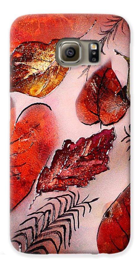 Leaf Galaxy S6 Case featuring the painting Red Leaves by Susan Kubes