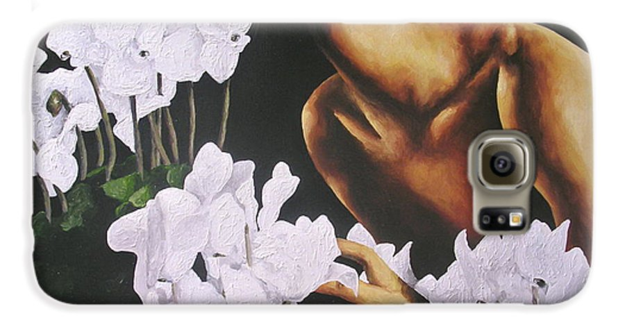 Nude Galaxy S6 Case featuring the painting Red Lips White Flowers by Trisha Lambi